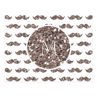 Taupe Glitter Mustache Pattern Your Monogram Postcard