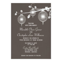 Taupe Glowing Paper Lanterns Wedding Invitation
