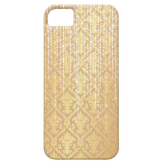 Taupe Gold Damask White Pearl Strands Sparkle iPhone SE/5/5s Case