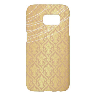 Taupe Gold Damask with White Pearl Swag Strands Samsung Galaxy S7 Case