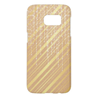 Taupe Gold with White Pearl Strands Sparkle Samsung Galaxy S7 Case