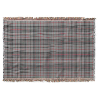 Taupe Gray Black Red Tartan Plaid Throw Blanket