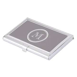 Taupe Gray High End Colored Personalized Business Card Holder