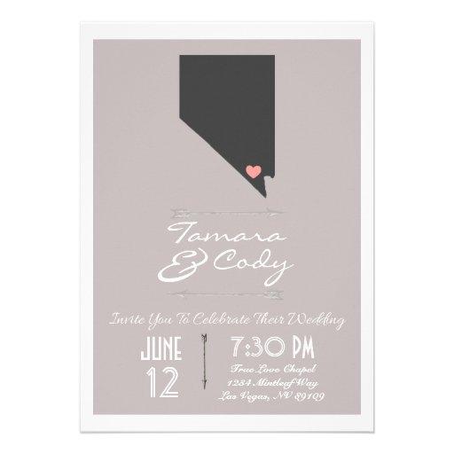 Taupe Gray Las Vegas, Nevada Wedding Invitation