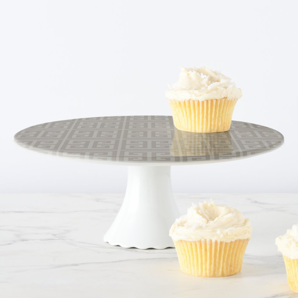 Taupe Greek Key Pattern Cake Stand