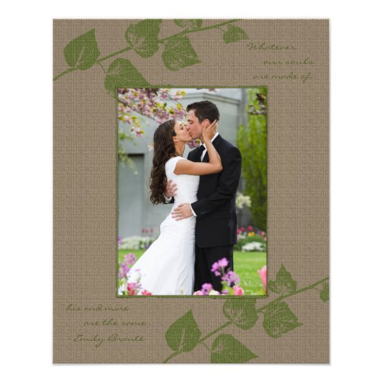 Taupe Green Leaves Portrait Photo Template