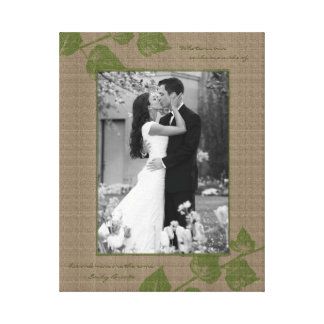 Taupe Green Leaves Portrait Photo Template Picture Gallery Wrapped Canvas