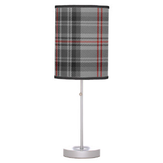 Taupe Grey Red Black Giant Tartan Plaid Table Lamp
