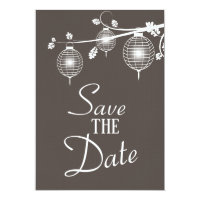 Taupe Hanging Paper Lanterns Save the Date Invitation