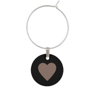Taupe Heart Wine Glass Charm