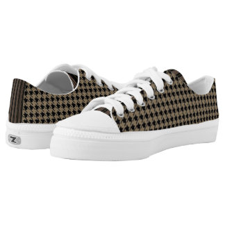 Taupe Houndstooth Low Tops