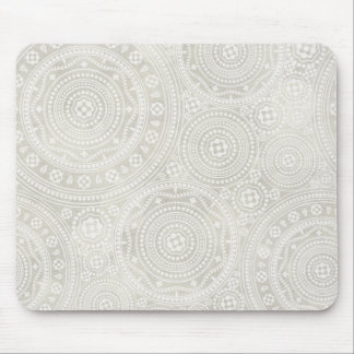 Taupe Ivory Lace Doily Neutral Mandala Print Mouse Pad