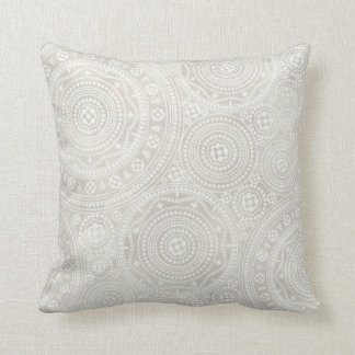 Taupe Ivory Lace Doily Neutral Mandala Print Throw Pillow