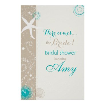 Beach Themed Taupe Ivory Teal Beach Bridal Shower Sign Poster