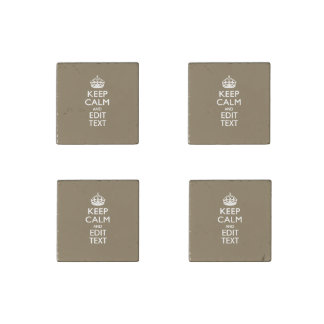 Taupe Keep Calm And Your Text Easily Stone Magnet
