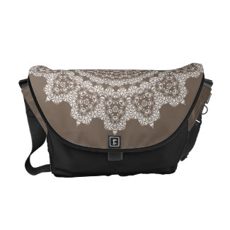 Taupe Lace Pattern Black Accents Messenger Bag