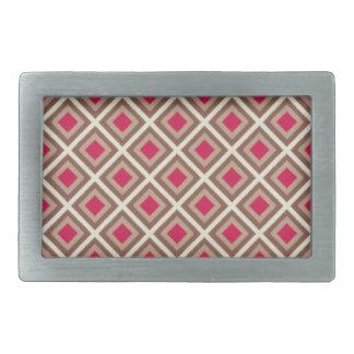 Taupe, Light Taupe, Hot Pink Ikat Diamonds Belt Buckle