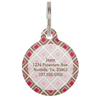Taupe, Light Taupe, Hot Pink Ikat Diamonds Pet Name Tags