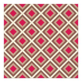Taupe, Light Taupe, Hot Pink Ikat Diamonds Photo Print