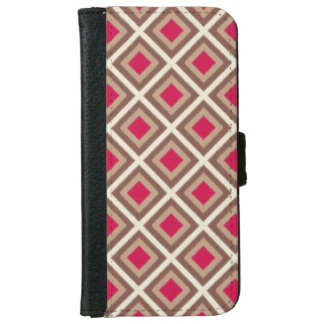 Taupe, Light Taupe, Hot Pink Ikat Diamonds iPhone 6 Wallet Case