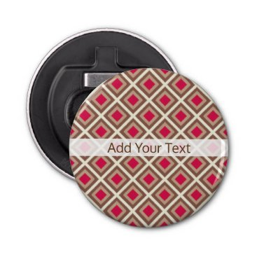 Aztec Themed Taupe, Light Taupe, Hot Pink Ikat Diamonds STaylor Bottle Opener