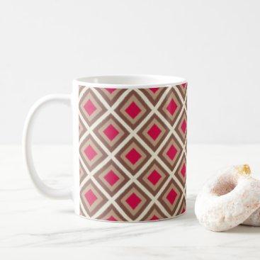 Aztec Themed Taupe, Light Taupe, Hot Pink Ikat Diamonds STaylor Coffee Mug