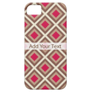 Aztec Themed Taupe, Light Taupe, Hot Pink Ikat Diamonds STaylor iPhone SE/5/5s Case