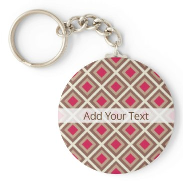 Aztec Themed Taupe, Light Taupe, Hot Pink Ikat Diamonds STaylor Keychain