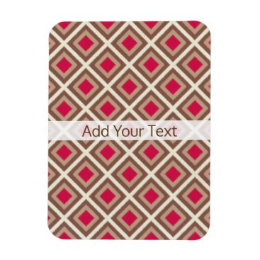 Aztec Themed Taupe, Light Taupe, Hot Pink Ikat Diamonds STaylor Magnet
