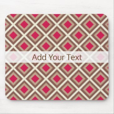 Aztec Themed Taupe, Light Taupe, Hot Pink Ikat Diamonds STaylor Mouse Pad