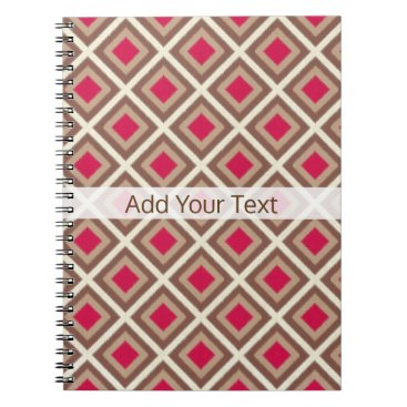 Aztec Themed Taupe, Light Taupe, Hot Pink Ikat Diamonds STaylor Notebook