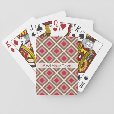 Aztec Themed Taupe, Light Taupe, Hot Pink Ikat Diamonds STaylor Playing Cards