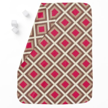 Aztec Themed Taupe, Light Taupe, Hot Pink Ikat Diamonds STaylor Receiving Blanket