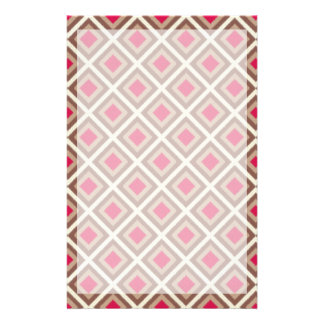 Taupe, Light Taupe, Hot Pink Ikat Diamonds STaylor Stationery