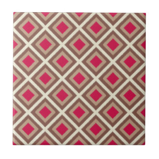 Taupe, Light Taupe, Hot Pink Ikat Diamonds STaylor Tile