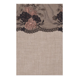 Taupe Linen, Pink and Black Lace Stationery