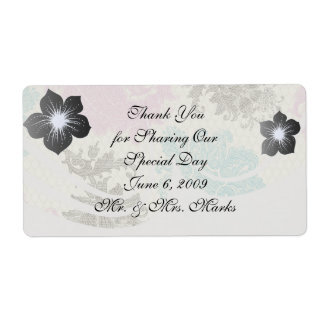 taupe mauve and blue flower damask shipping label