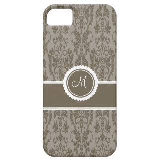 Taupe Monogrammed Damask Case-Mate iPhone 5 Case