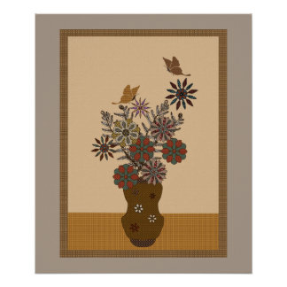 Taupe Patchwork Flowers And Butterflies Poster