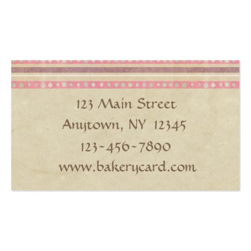 Taupe Pink Cakes Bakery Business Card (back side)