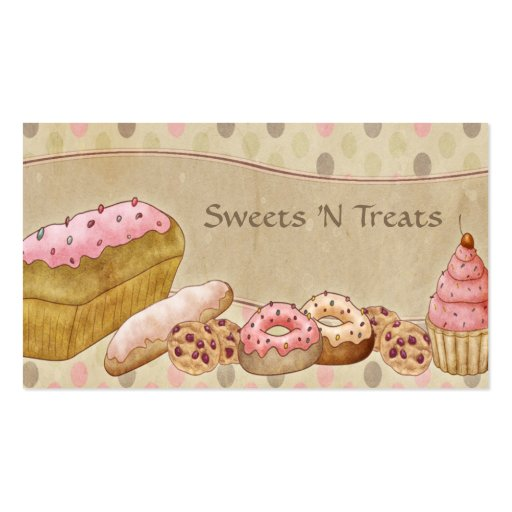 Taupe Pink Cakes Bakery Business Card (front side)