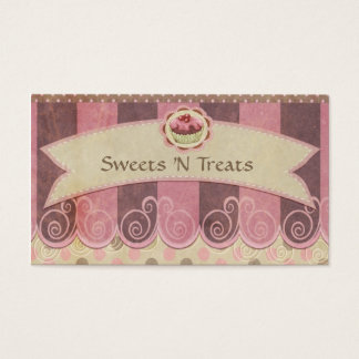 Taupe Pink Cupcake Bakery Business Card