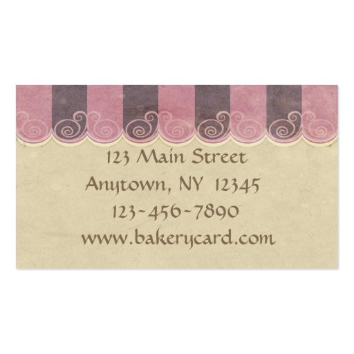 Taupe Pink Cupcake Bakery Business Card (back side)