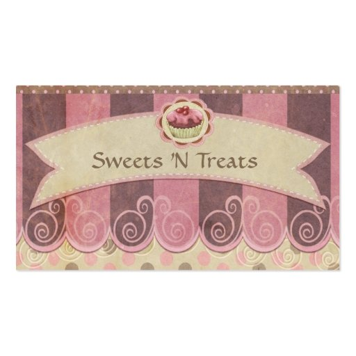 Taupe Pink Cupcake Bakery Business Card (front side)