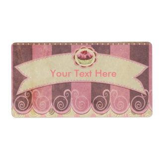 Taupe Pink Cupcake Bakery Label