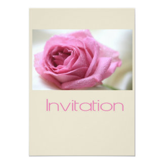 taupe pink rose invitation