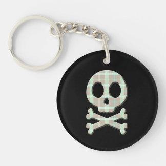 Taupe Plaid Skull Double-Sided Round Acrylic Keychain