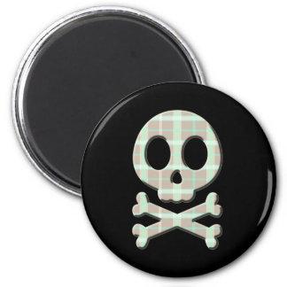 Taupe Plaid Skull Magnet