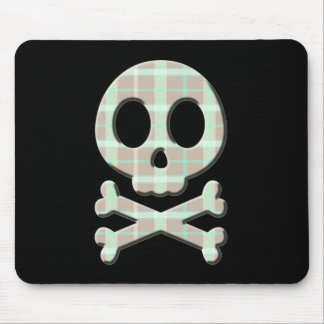 Taupe Plaid Skull Mouse Pad