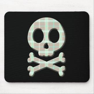 Taupe Plaid Skull Mouse Pad